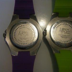 Invicta Angel Accessories - Two Invicta Angel 0701 Silicone Chronograph watch